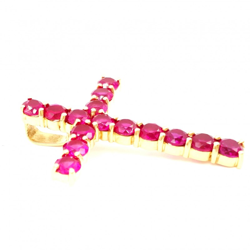 Pendentif Croix en Rubis Rose