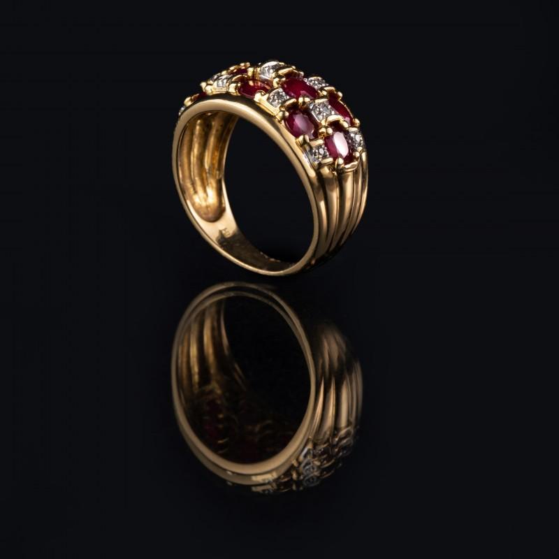 Bague Or Rubis et Diamants