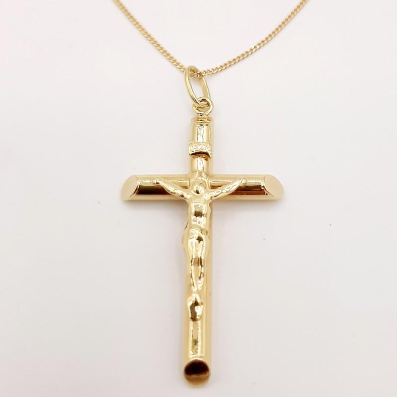 Chaine et Croix Or Jaune 18K